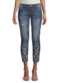 Miss Me Embroidered Eyelet Ankle-Length Skinny Jeans