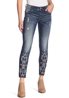Miss Me Embroidered Skinny Ankle Jeans