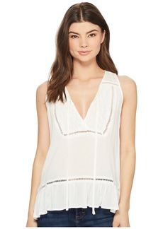 Miss Me Embroidered Trim Sleeveless Top