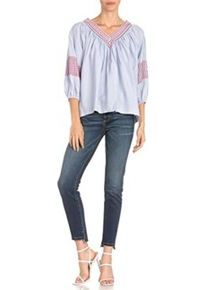 Miss Me Embroidered V-Neck 3/4 Sleeve Blouse