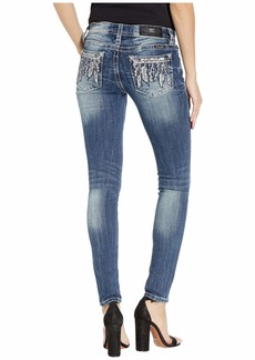 Miss Me Feather Arrow Skinny Jeans in Medium Blue