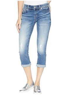 Miss Me Fleur De Lis Capri Jeans in Medium Blue