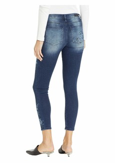 Miss Me Floral Embroidered Ankle Skinny Jeans in Medium Blue