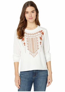 Miss Me Floral Embroidered Contrast Lace Back Long Sleeve Top