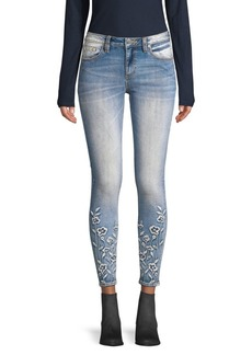 Miss Me Floral Embroidered Cropped Jeans