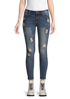 Miss Me Floral-Embroidered Skinny Ankle Jeans