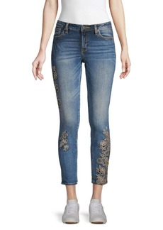Miss Me Floral-Embroidered Skinny Jeans
