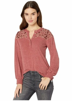 Miss Me Floral Embroidered Yoke Button Detail Long Sleeve Top