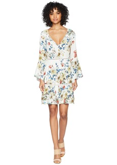 Miss Me Floral Print V-Neck Bell Sleeve Dress