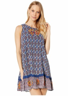 Miss Me Geo Print Floral Embroidered Cut Out Dress