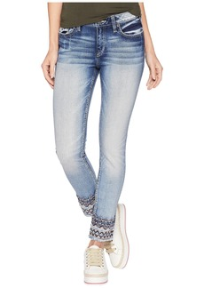 Miss Me Mid-Rise Ankle Skinny w/ Embroidery in Medium Blue