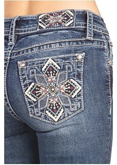 Miss Me Mid-Rise Art Deco Bootcut in Dark Blue