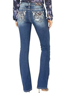 Miss Me Mid-Rise Bootcut with Feather Embellished Pocket in Dark Blue