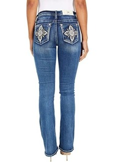 Miss Me Mid-Rise Moroccan Flower Bootcut in Dark Blue