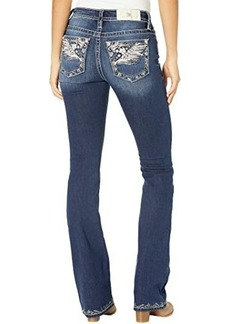 Miss Me Mid-Rise Wing Bootcut with Embroidered Hem in Dark Blue