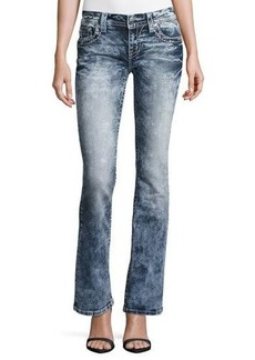 Miss Me Boot-Cut Embellished-Pocket Faded Jeans