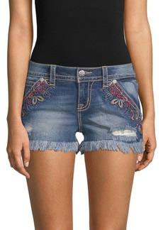 Miss Me Botanical Denim Shorts