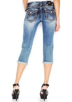 Miss Me Contrast-Stitch Medium Blue Wash Cropped Jeans