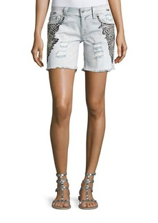 Miss Me Embroidered Cutoff Denim Shorts
