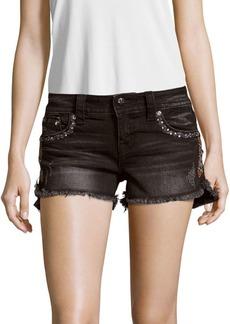 Embroidered Five-Pocket Denim Shorts