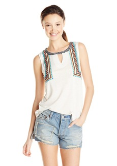 Miss Me Embroidered Sleeveless Keyhole Top
