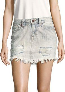 Miss Me Fringed-Hem Denim Skirt