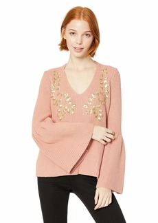 Miss Me Junior's Bell Sleeve Embellished Sweater  S