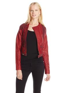 Miss Me Junior's Crop Zip Up Moto Jacket