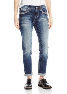 Miss Me Junior's Destructed Multi-Color Stitch Pocket Boyfriend Ankle Jean