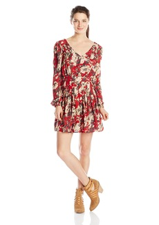 Miss Me Junior's Floral Print Long Sleeve Dress