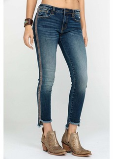 Miss Me Junior's Mid-Rise Ankle Skinny Jeans with Frayed Hem