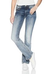 Miss Me Junior's Mid-Rise Boot Cut Jeans with Horseshoe Back Pockets