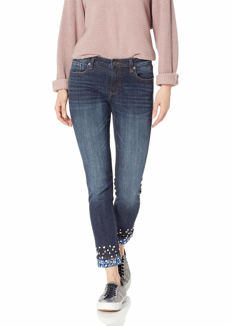 Miss Me Junior's Mid-Rise Cuffed Ankle Skinny Jeans with Velvet and Crystals