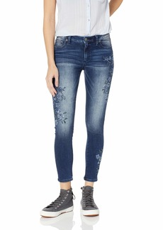 Miss Me Junior's Mid-Rise Floral Embroidered Skinny Jeans