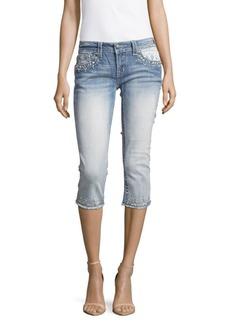 Miss Me Lace Panel Border Capri Jeans