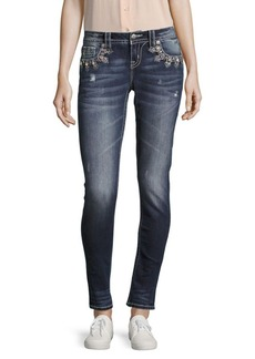 Miss Me Oval Crystal Skinny-Fit Jeans