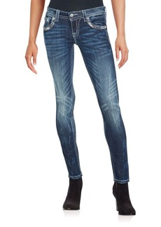 Miss Me Slim-Fit Embellished Faded Jeans