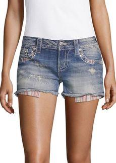 Miss Me Striped-Pocket Denim Shorts