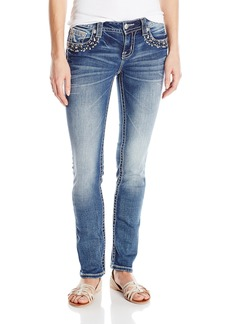 Miss Me Women's Back Pocket Embroidered Straight Leg Jean