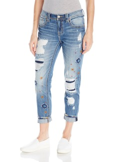 Miss Me Women's Embroidered Ankle Boyffriend Denim Jean