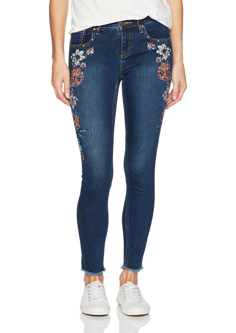 Miss Me Women's Embroidered Dark Wash Ankle Skinny Denim Jean Blue