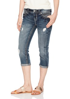 Miss Me Women's Embroidered Mid Rise Capri