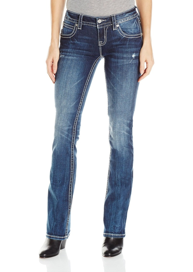 Miss Me Women's Feather Embroidered Boot Cut Denim Jean