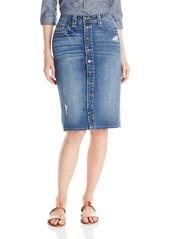 Miss Me Women's Juniors Exposed Button Mid Rise Denim Skirt