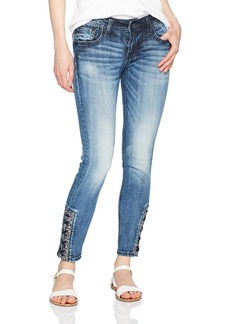 Miss Me Women's Lace Ankle Skinny Denim Jean