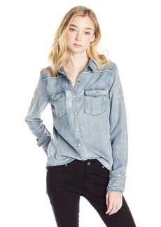 Miss Me Women's Long Sleeve Chambray Shirt  L