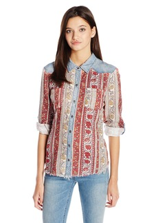 Miss Me Women's Long Sleeve Floral Chambray Shirt  M