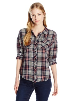 Miss Me Women's Long Sleeve Plaid Buttondown  L