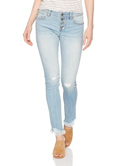 Miss Me Women's Mid Rise Front Button Skinny Denim Jean With Fray Detail Light
