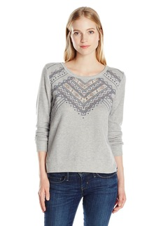 Miss Me Women's Print Back Embroidered Pullover  L